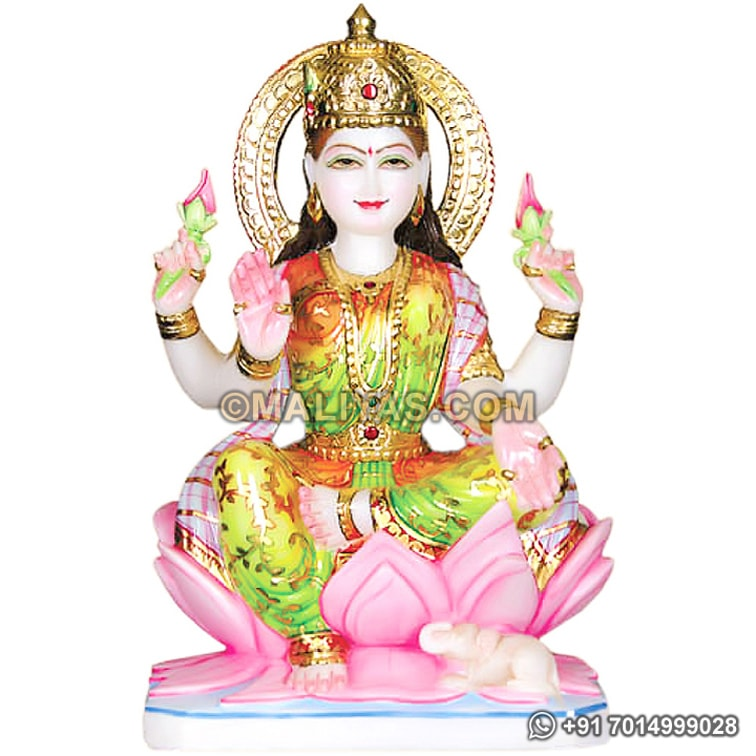 Beautiful Laxmi Statue Seated on lotus