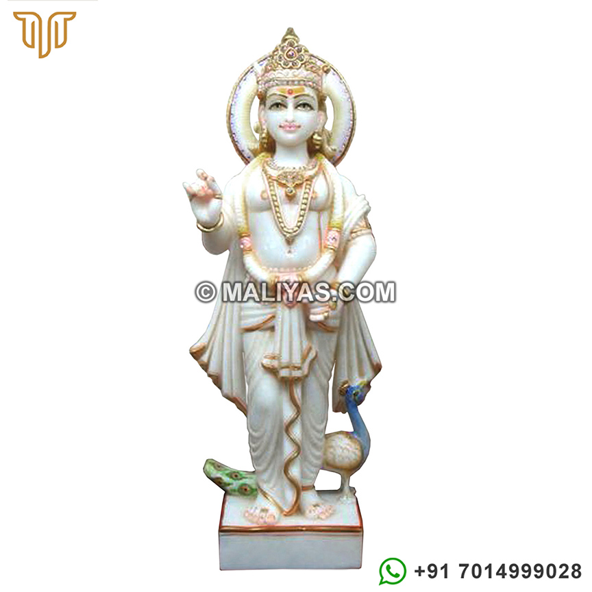 Buy Marble Murugan Statue with peacock