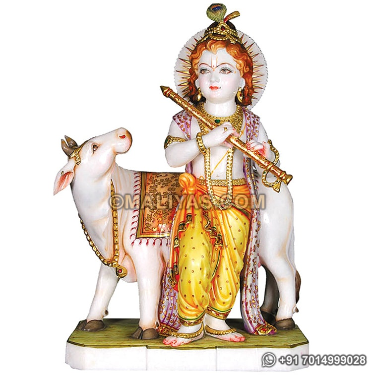 Carved Krishna Statue with Cow in Marble