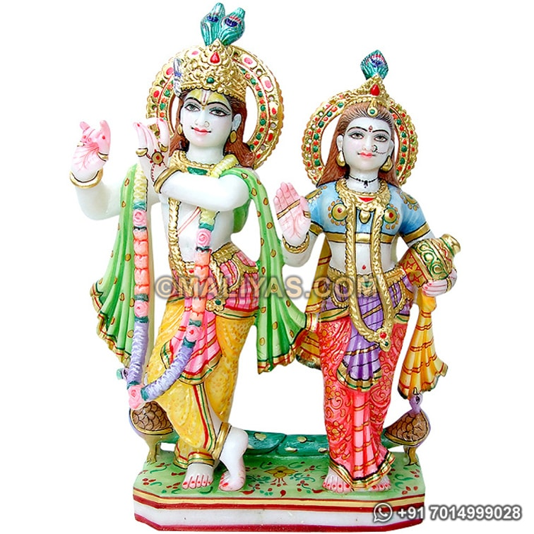 Carved Radha Krishna Statue from Marble