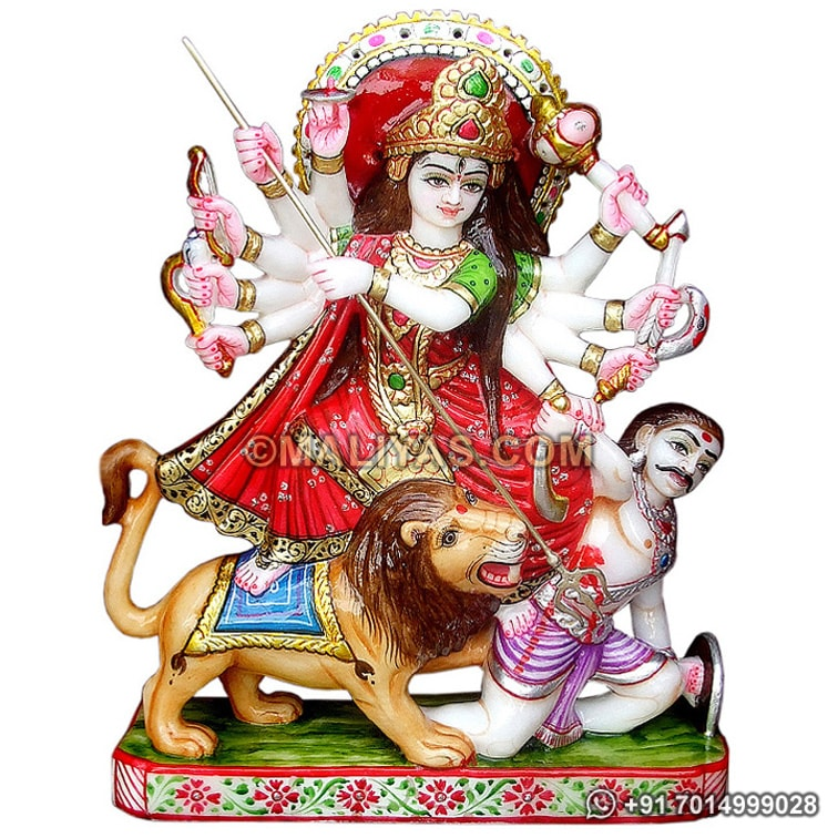 Exclusively Marble Durga Doing Mahisasur Vadh
