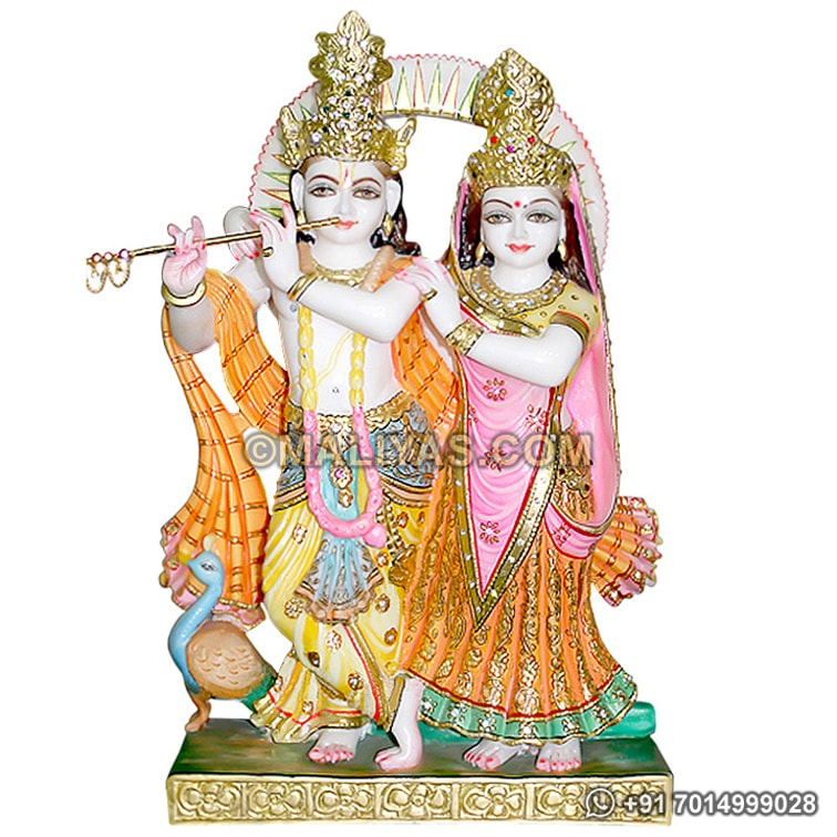 Exquisite Radha Krishna statue in White Marble
