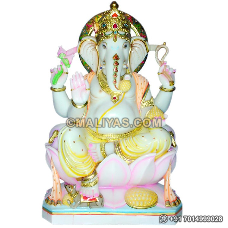 Ganesh Idols carved in white marble stone