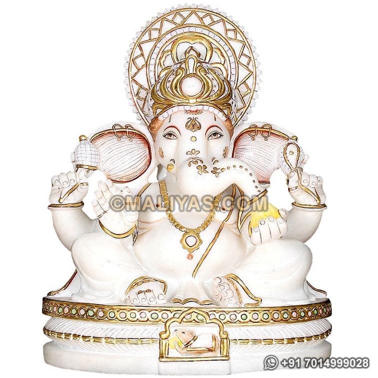 Ganesh Statue carved from White Marble
