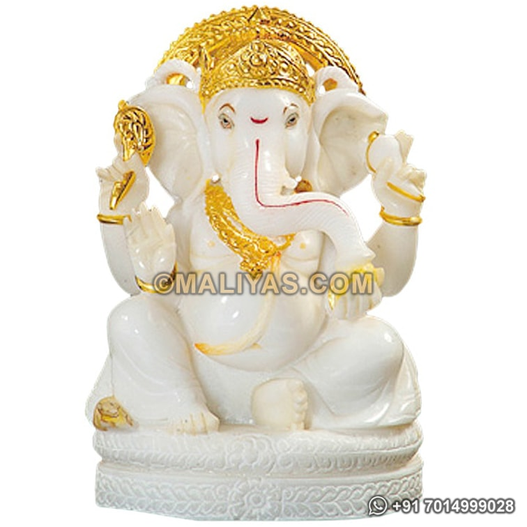 Ganesh Statue from White Marble stone