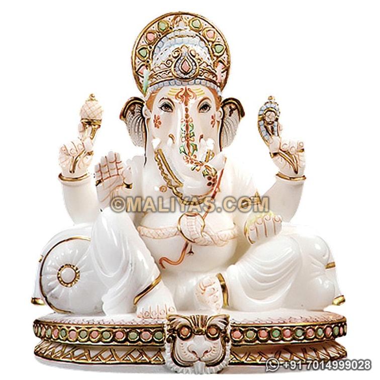 White Marble Ganesh Statue Pure White Marble Ganesha Statue