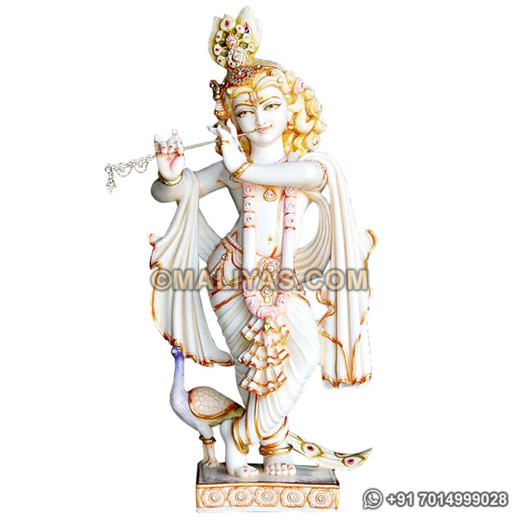 Handmade Krishna Statue with Peacock Marble