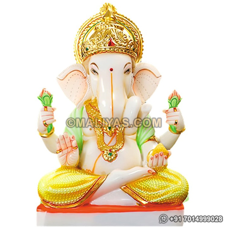 Indian marble Ganesh statue carved in stone