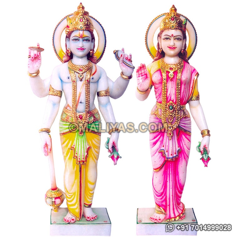 Laxmi Narayan Statue from White Marble