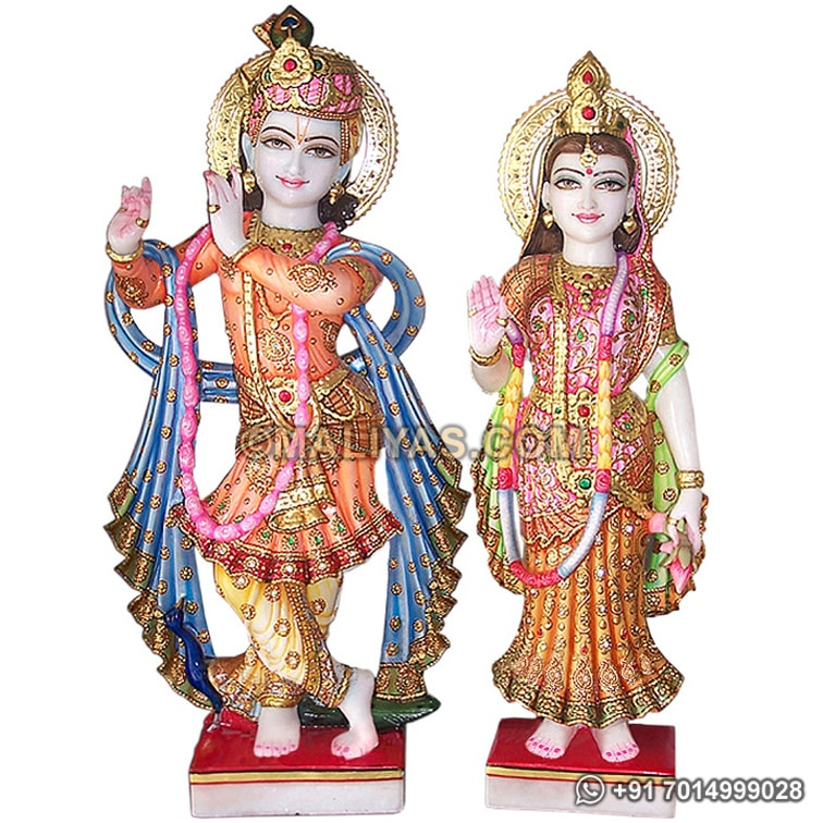 Lord Radha Krishna from White Marble stone
