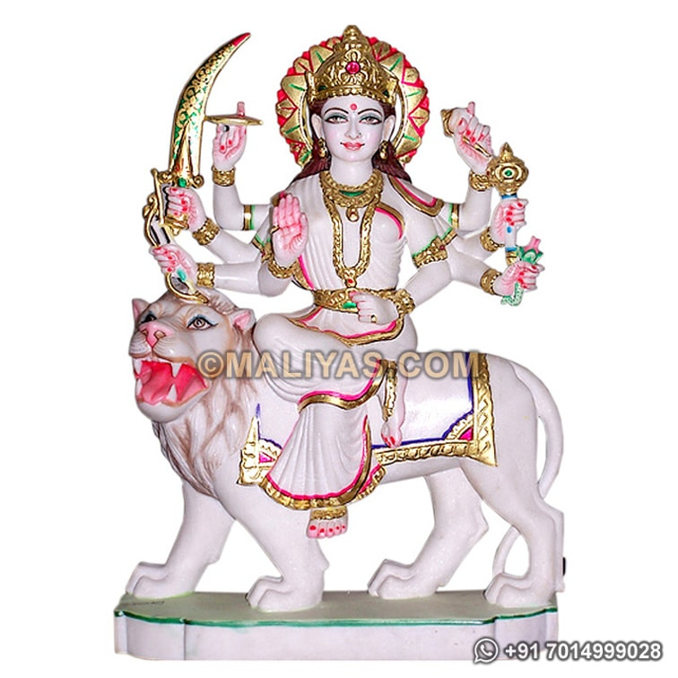 Maa Durga on Lion from Makrana Marble