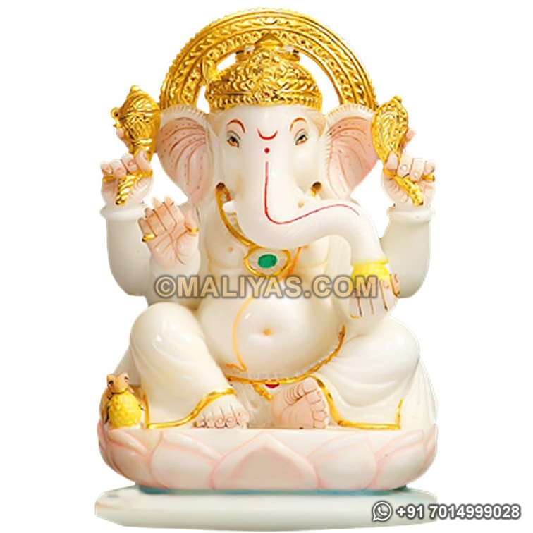 Marble Ganesh Statue with Light Painting