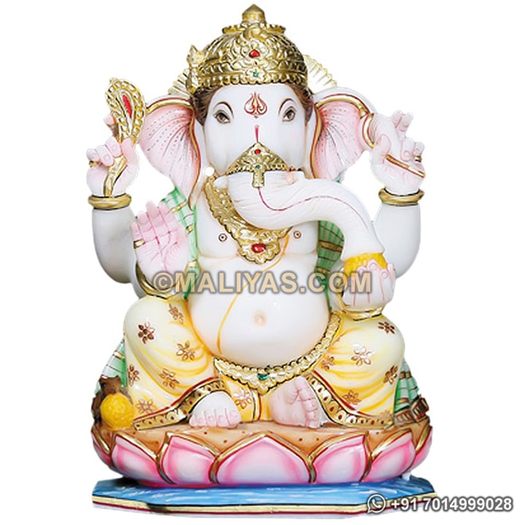 Marble Ganesh statue with painting work