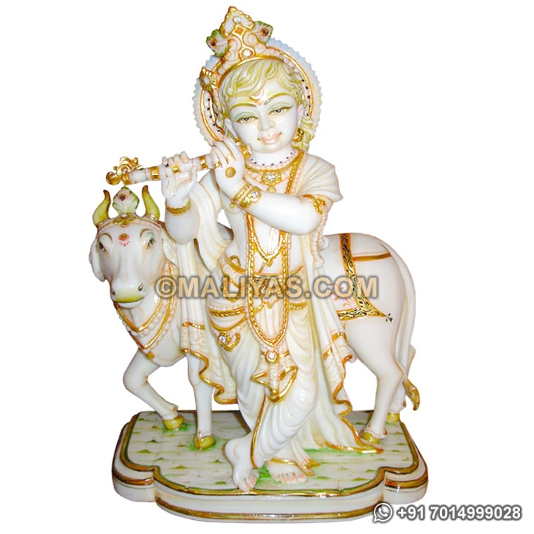 Marble Krishna Standing with Cow