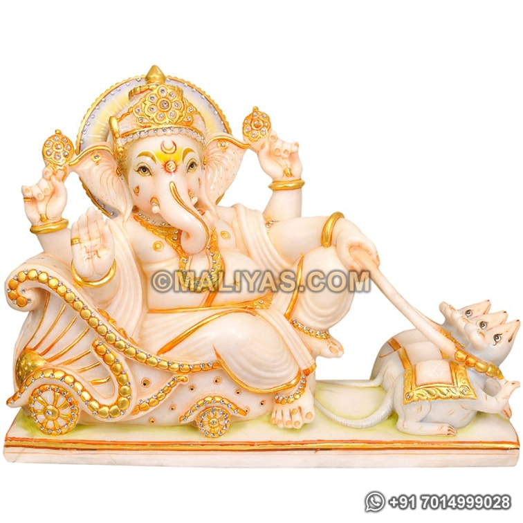 Marble Lord Ganesha Sitting on Chariot and Mouse