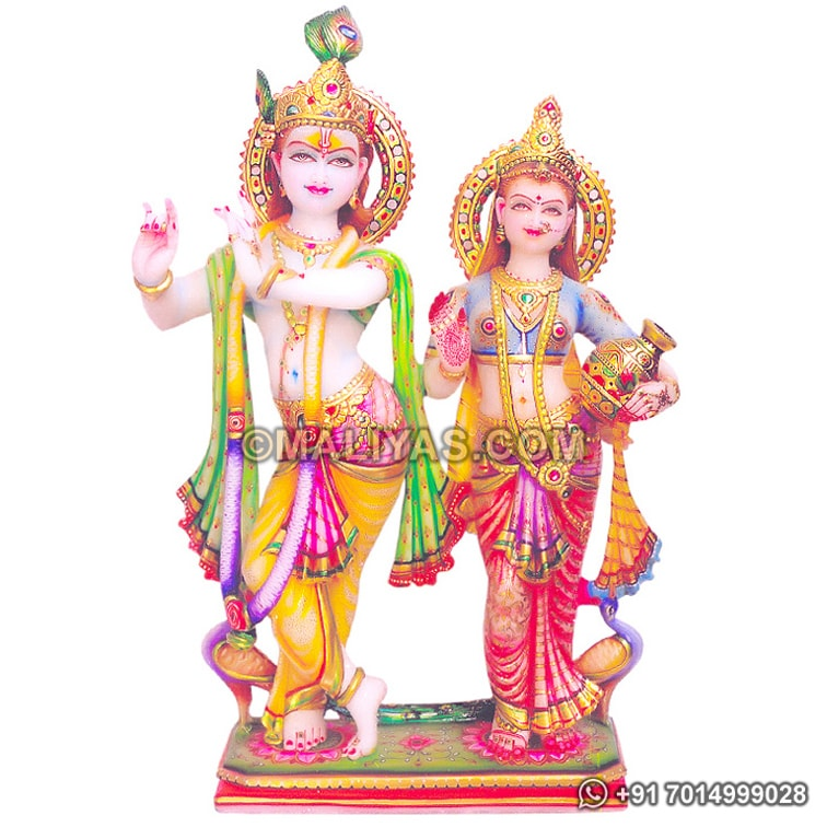 Marble Radha Krishna Murti with painting