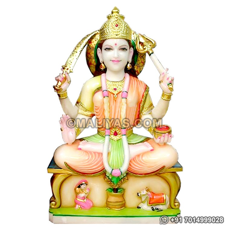 Santoshi Statue from White Marble Stone