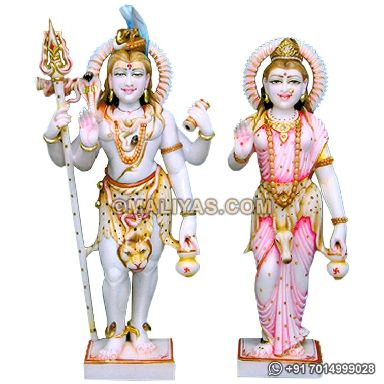 Standing Shankar and parvati Statue from marble