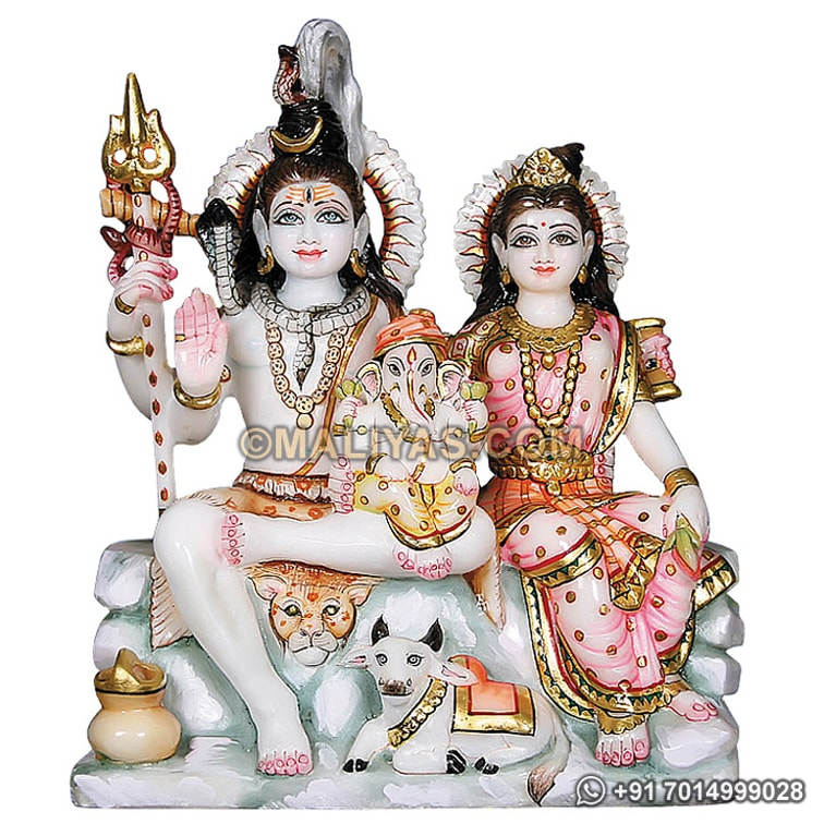 Superior quality Marble Family of Lord Shiva