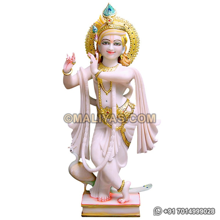 White Marble Krishna With Peacock Statue Manufacturers Of White