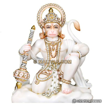 Beautiful carved hanuman statue with painting