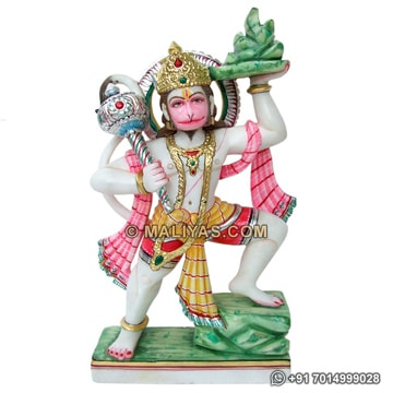 Hanuman statue lifting mountain from marble