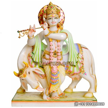 Krishna with cow murti