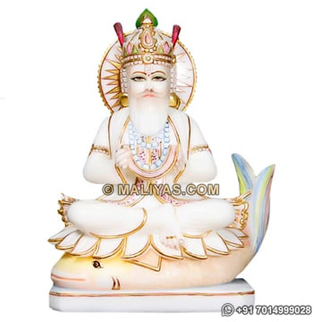 Lord Jhulelala Murti from Marble Stone