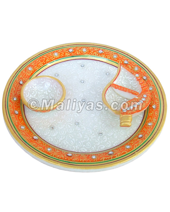 Pooja thali in marble stone