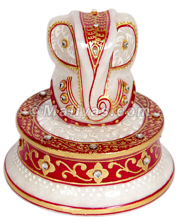 Decorative Marble ganesha with hand painting work