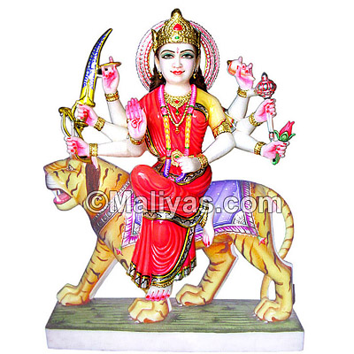 Marble Durga Mata Sitting on Tiger