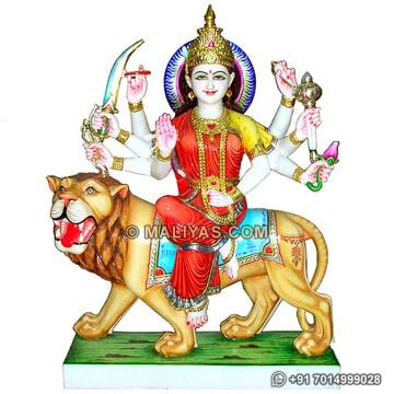 Marble Durga Statue with painting