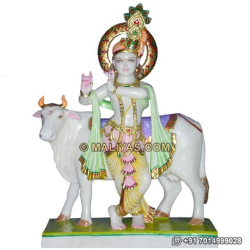 Marble Krishna Statue with Cow Carved in Marble