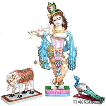 Marble Krishna Statue with Cow and Peacock