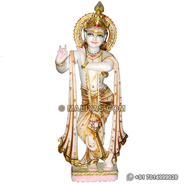 Marble Krishna statue carved from makrana