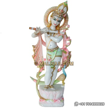 Unique Krishna Statue from White Marble