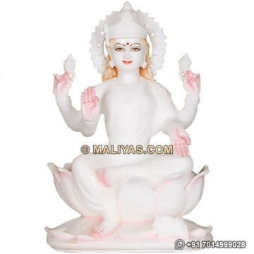 White Marble Laxmi mata statue from marble